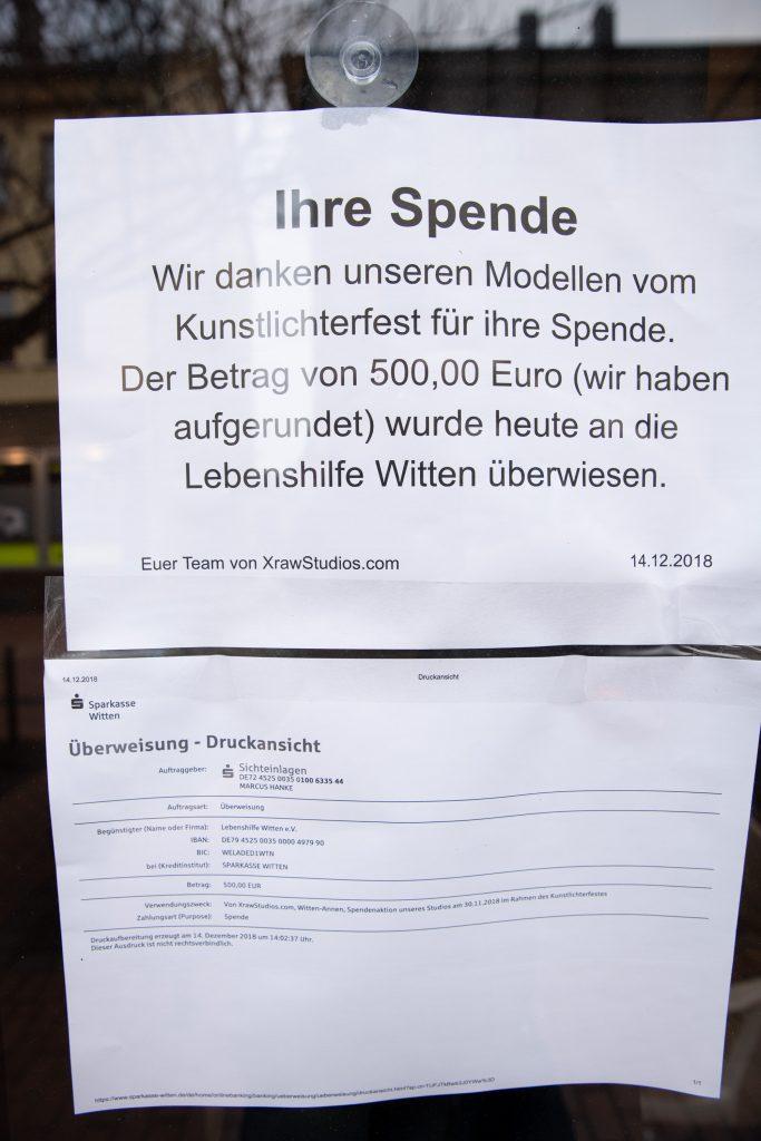 Spende im Rahmendes Kunstlichterfest, XrawStudios, Foto-Agentur Marcus Hanke Witten